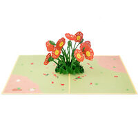 Paper Love Poppy Flowers Pop Up Card, 3D Popup Greeting Cards, for Mothers Day,