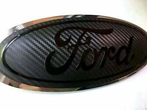 Ford Explorer CARBON FIBER Emblem Overlay Oval Badge BLACKOUT Decal Sticker