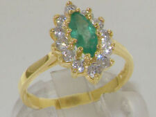 Emerald Anniversary Yellow Gold Natural Fine Gemstone Rings