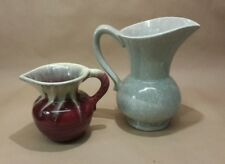 Vintage West Germany Jug Vases Drip Glaze Jasba Style 524 17 Green Red Large Sml