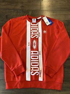 ADIDAS Sweatshirt Men's Print SCARFCREW ED7004 RED SZ LG New W/Tags Collection