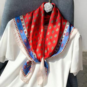 Fashion Shiny Scarf Boho Style Paisley Print Kerchief Faux Silk Turban 70x70cm