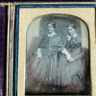 DAGUERREOTYPE PHOTO OF TWO WOMEN HOLDING HANDS IN LEATHER CASE VERY NICE IMAGE