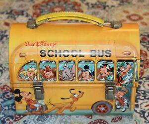 c1970 ALADDIN INDUSTRIES WALT DISNEY SCHOOL BUS LUNCHBOX With Thermos! LOT R