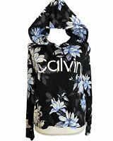 Calvin Klein Womens XS Hoodie Floral Black Blue Top Lightweight LOGO Sweatshirt