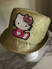 Gold glitter Hello Kitty Fedora Hat Youth One Size