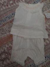 nwt Remember Nguyen white smocked sleeveless dress bloomer baby girl NB