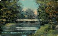 Kokomo Indiana~City Park~Bridge over Creek~Publ F W Woolworth & Co~1910