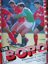 Middlesbrough V PORT VALE, 11-4-90 programma