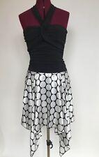 Byerwear Too Prom Party Asymmetric Halter Dress Juniors S Polka Dot Black White
