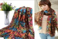 Women Long Soft Cotton Voile Silk Scarves Leopard Shawl Stole Wrap Scarf Gift