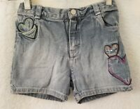 The Children's Place Girls Blue Hearts And Gems Design Jean Shorts Size 6