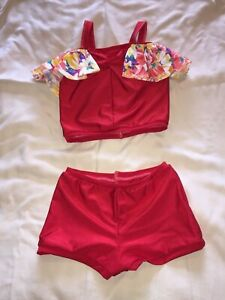 Red Lycra 2 piece (hot pants & crop top) Dance Costume Age 8-9yrs Summer theme