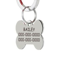 CNATTAGS Personalized Front and Back Engraving Stainless Steel Pet Dog ID Tags - Bone