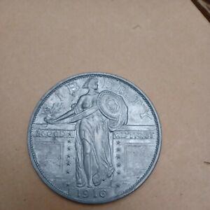 3 Inch Metal Medallion 1916 Bare Breasted Standing Liberty Quarter Vintage (jb)