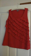 SUZANNE GRAE size M RED RUFFLE FRONT SLEEVELESS TOP SCOOP NECK