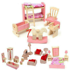 Dolls House Furniture Wooden Toys Set People Dolls For Kids Children Gift New TH