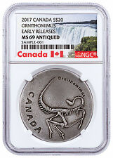 2017 Canada Ancient Canada Ornithomimus 1oz Antiqued Silver NGC MS69 ER SKU47011