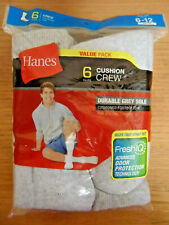 Hanes Mens Cushion Crew Socks Fresh IQ Shoe Sz 6-12 Grey 6-Pair Value Pack New