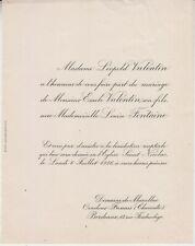 1936 Faire-part mariage Léopold VALENTIN & Louise FONTAINE - Bordeaux (Gironde).