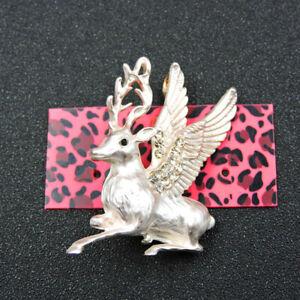 White Crystal Enamel Cute Angel Sika Deer Betsey Johnson Charm Brooch Pin