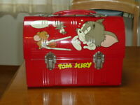 Tom & Jerry Dome Lunch Box Lunchbox Red Vintage MASUDAYA
