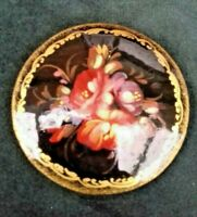 VINTAGE russian lacqured hand painted brooch paper mache.signed.