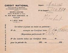F41 bon du CREDIT NATIONAL émis en paiement d'actions en espèce année 1920