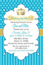 30 Prince Invitation Baby Boy Shower Teal Gold Crown Turquoise Personalized A1
