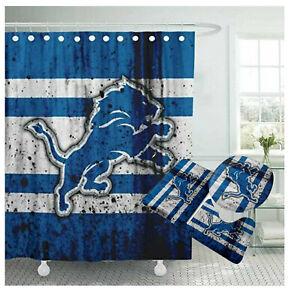 Detroit Lions Bathroom Rugs Set 4PCS Shower Curtain An-Skid Toilet Seat Cover