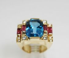Diamond Blue Topaz Pink Tourmaline Ring 14k Yellow Gold 17.7Grams Dramatic