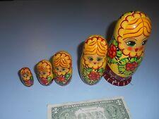 """Signed Russian Nesting Doll 1992 Ceorueb Nocad 5 Nest Blonde Girl 6.25"""" Tall"""