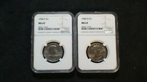 1980 P & D SUSAN B ANTHONY NGC MS67 DOLLARS 2 GEM UNC $1 Coins PRICED TO SELL!