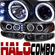 Blk Halo LED Projector Head Light+Bumper Signal JY 00-06 GMC Sierra Yukon Denali