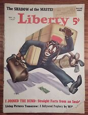 LIBERTY magazine AFRICAN AMERICAN PORTER cover by Hen Sept 23, 1939
