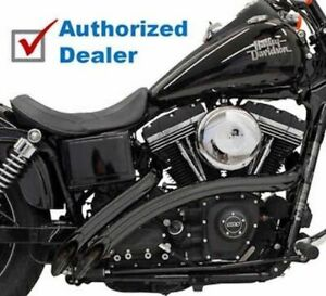 Bassani Black Radial Sweepers Exhaust Pipes w/ Heat Shields Harley Softail Dyna