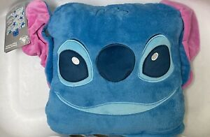 "BNWT Disney Stitch Convertible Fleece Throw Blanket 50"" x 50"" Blue"