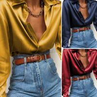 UK Women Work Shirt Buttons Satin Blouse Office Ladies Long Sleeve Top Size 8-26
