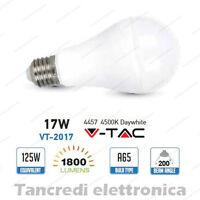 Lampadina led V-TAC 17W = 120W E27 bianco naturale 4500K VT-2015 A65 globo sfera