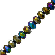 "10mm Faceted Crystal Glass Rondelle Beads Rainbow Metallic Iris 8"" (P34)"