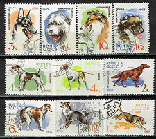 Russia Soviet Dogs set 10 stamps 1965 CTO NH