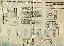 """1930s (?) Vintage LUCAS Wiring Diagrams - """"ARIEL"""" Motorcycle +"""