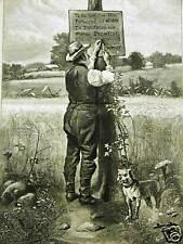 FARMING HARVEST TRESPASSING 1877 Antique Print Matted