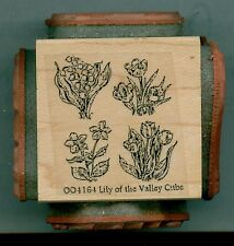 NORTHWOODS rubber stamp LILY OF THE VALLEY CUBE wood mounted,  Spring / Easter