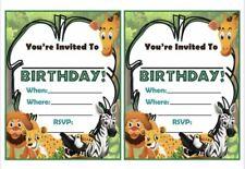Safari Animals Birthday Party Invitations, X10 Invites Girls Boys Children
