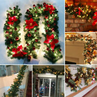 9FT Christmas Garland with 50 LED Fairy Lights Door Wreath Xmas Fireplace Decor