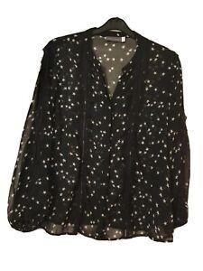 Mint Velvet Star-Print Sheer Blouse - Size 16
