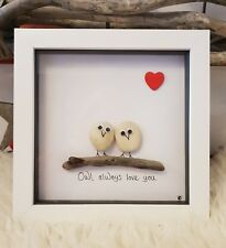 Owl valentine driftwood & pebble art picture. 15cm frame white. Personalised
