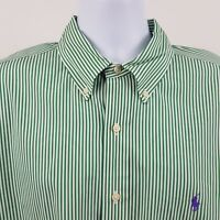 Ralph Lauren Classic Fit Green White Striped Men's L/S Button Shirt Sz XL / 17