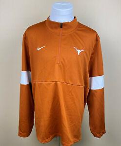 NIKE DRI-FIT TEXAS LONGHORNS Orange 1/4 Zip Pullover Sweatshirt Jacket Mens 2XL